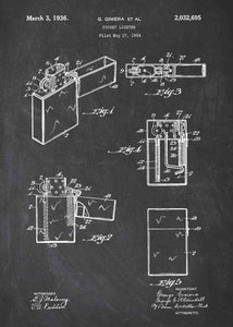 zippo lighter patent print, zippo wall art in the style chalkboard