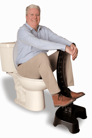 Man on EZ Eliminator Toilet Assistance Stool