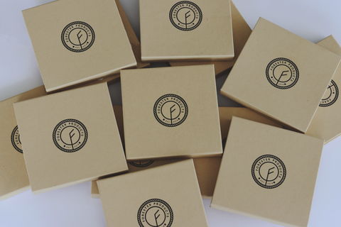Forester Product vegan wallet packaging by the Tiny Box Company