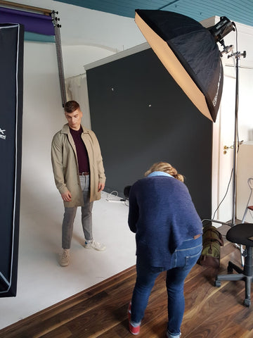 Brown Vegan Leather Belt by Forester Products   Behind the scenes of photoshoot