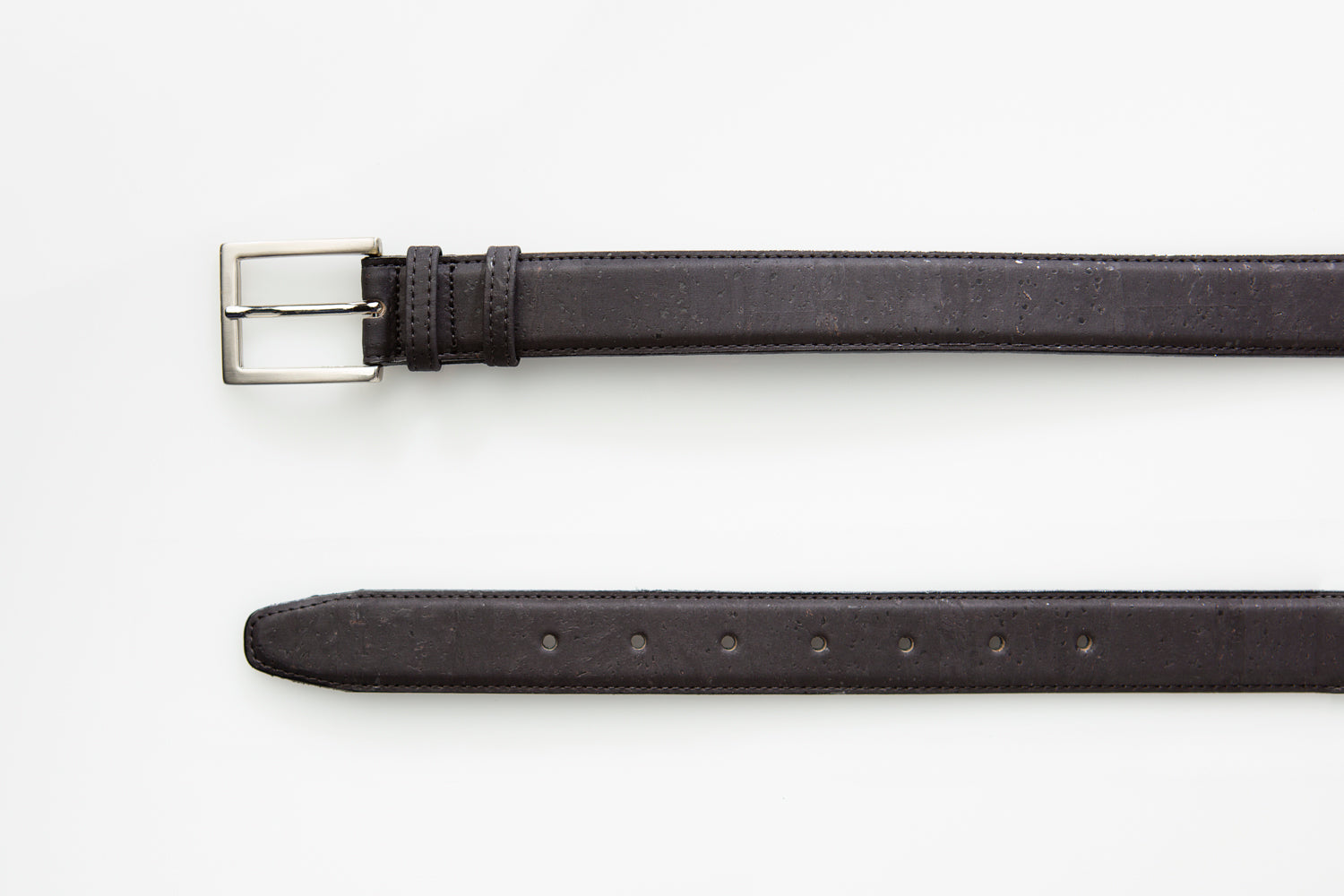 Forester Products black vegan leather belt close up