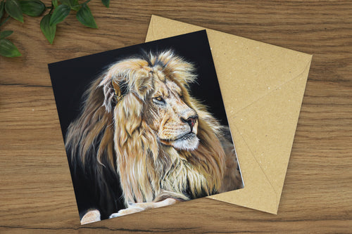 Lion Profile Greetings Card