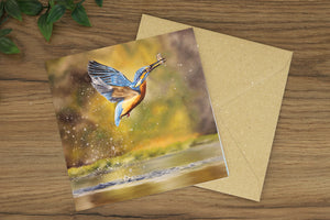 Kingfisher Flying Greetings Card
