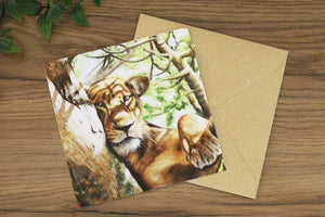 Lioness Greetings Card
