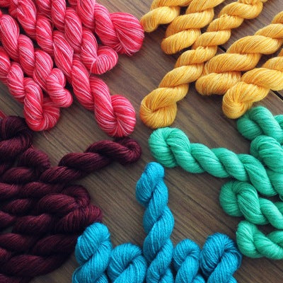 Rainbow Bright- Recycled Mini Skeins 50g Sock