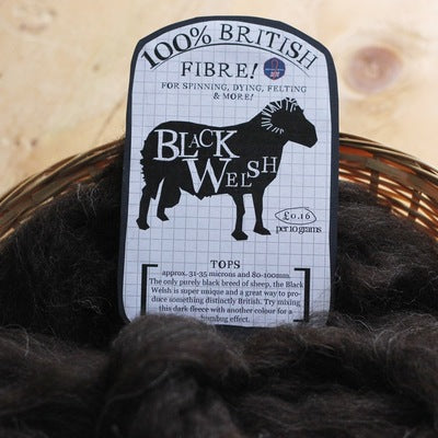 Black Welsh. British Wool Tops