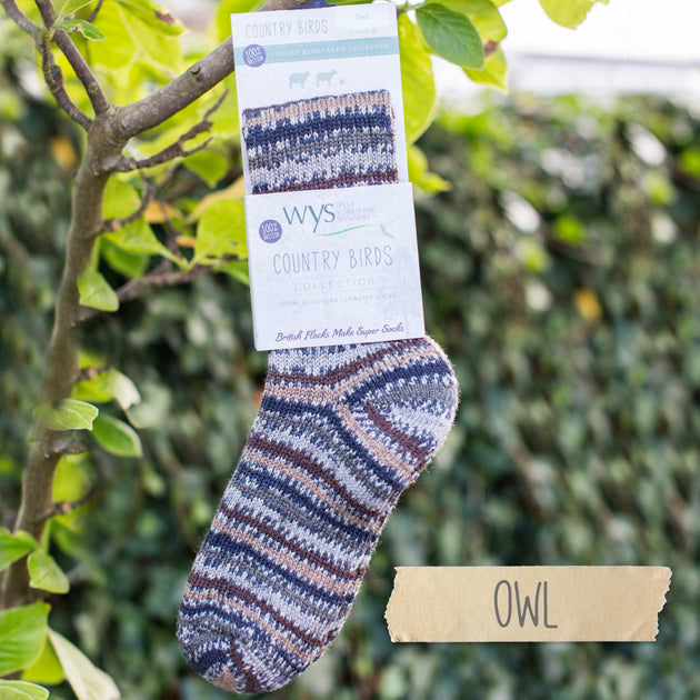Real Wool Socks- Size S, M, L - Owl