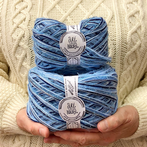 """Bailey Blue"" Super Chunky Recycled Yarn"