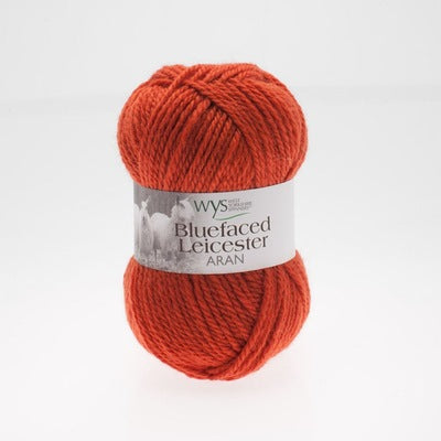"""Burnt Orange"" 100% BFL Aran"