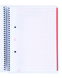 Miquelrius Fresh Spiral Bound Poly Notebook, DCK Red (6 x 8, 4-Subject, Graph Paper) 140 SHEETS