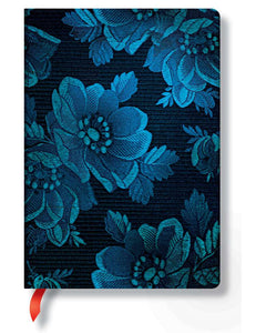 "Paperblanks Writing Journal, Chic & Satin, Blue Muse Midi 5"" x 7"", 176 unlined pages"