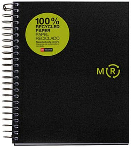 Miquelrius A5 Medium Recycled Wirebound Notebook, 4-Subject Graph Ruled,  Black (6 x 8)
