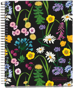 "Miquelrius Large 4 Subject Wirebound Notebook - Hardcover, (140 Sheets-280 Pages, Lined), 8.5"" x 11"" (DARK FLORAL)"