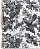 "Miquelrius Large 4 Subject Wirebound Notebook - Hardcover, (120 Sheets-240 Pages, Lined 70 G/M2), 8.5"" x 11"" (Tropical Black & White)"