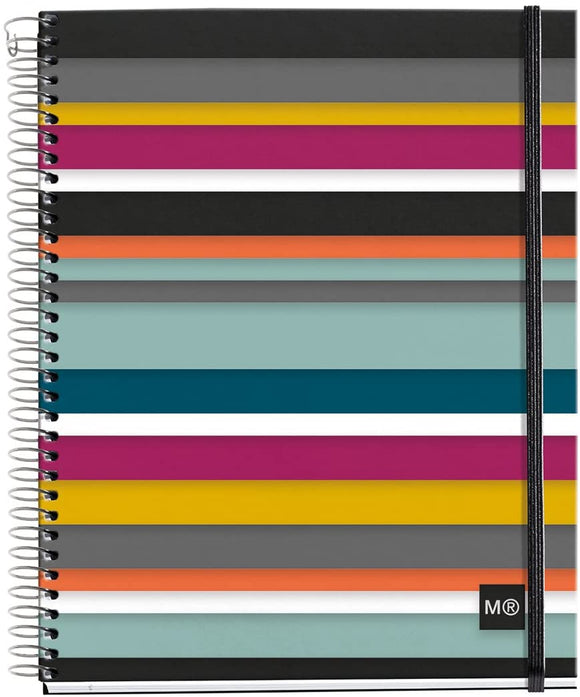 Miquelrius Medium 4 Subject Spiral Notebook, Oslo Stripes, 90 G/M2 120 Sheets, College Ruled ( A5 6