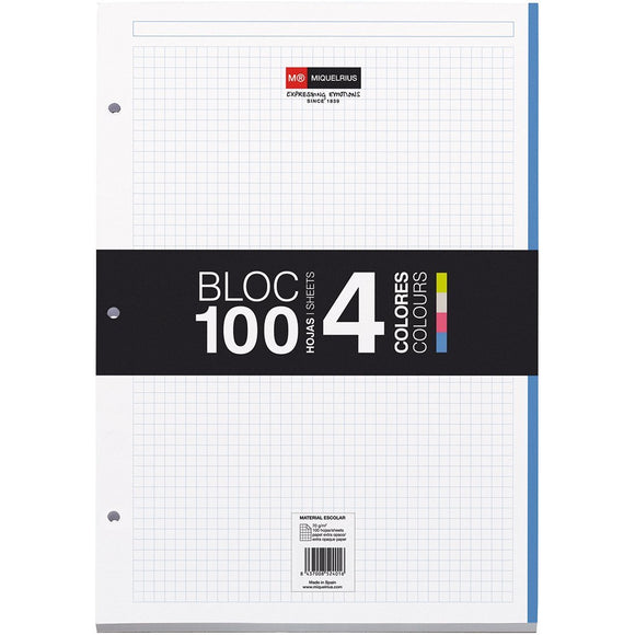 Miquelrius Notebook Filler Paper, 8.5 X 11, 4-subject Grid/graph Pages, (100 Sheets/200 Pages)