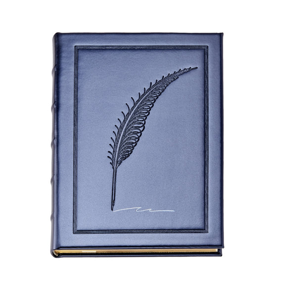 Graphic Image Metallic Blue Vegan Leather Journal, Embossed Quill Navy (9 x 7)