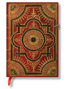 "Paperblanks Writing Journal, Baroque Ventaglio, Ventaglio Rosso Midi 5x 7"", 240 unlined pages"