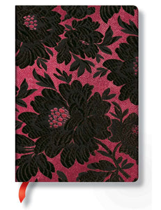 "Paperblanks Writing Journal, Chic & Satin, Black Dahlia Midi 5"" x 7"", 176 lined pages"