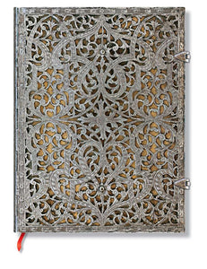 "Paperblanks Writing Journal, Silver Filigree, Natural Ultra 7"" x 9"", 240 lined pages"