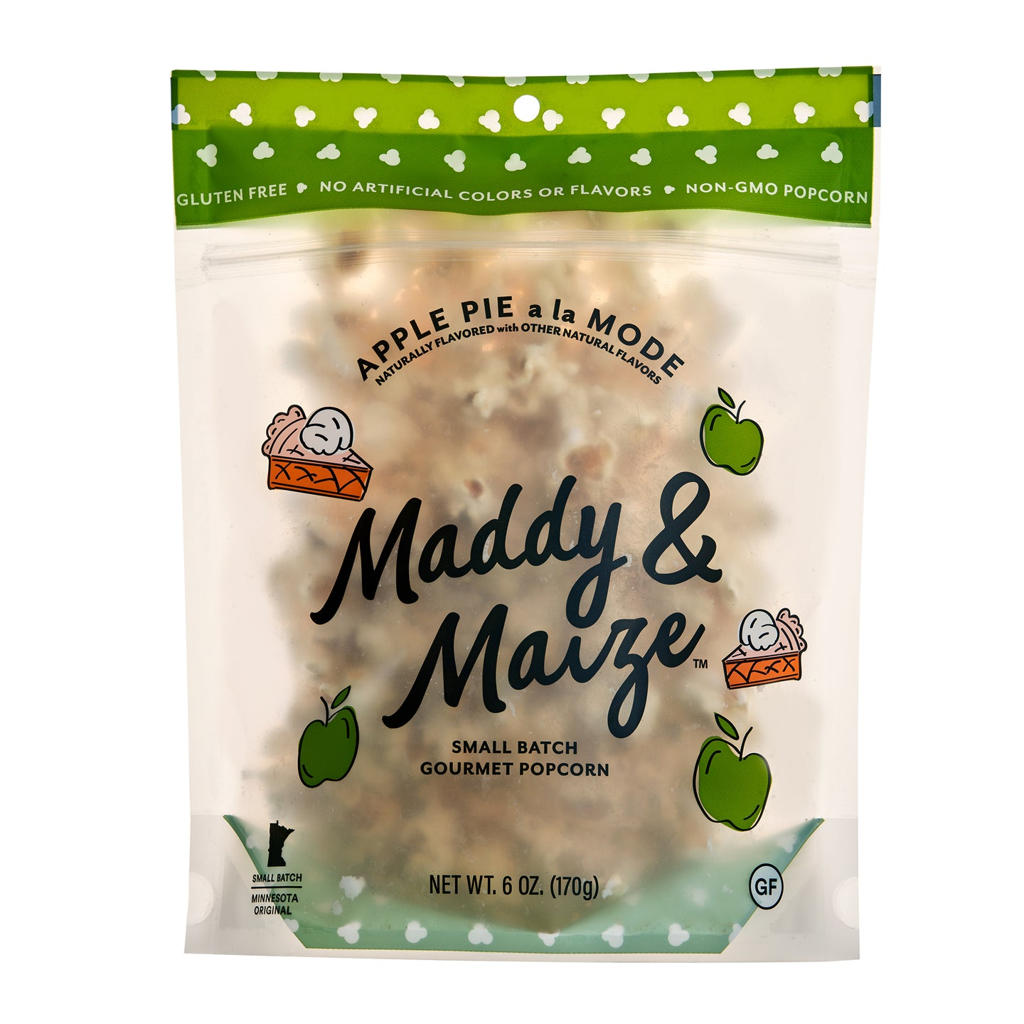 One 6 ounce bag of Maddy & Maize Apple Pie a la Mode popcorn, front facing. Translucent package showcasing apple pie seasoned kettle corn with white chocolate drizzle. Package has green accent color and drawings of apples and apple pie.