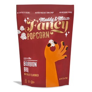 Image of one bag of Maddy & Maize Fancy Bourbon Barbecue popcorn.