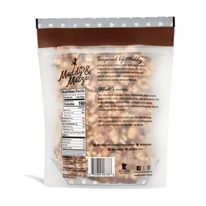 Image of back of bag of chocolaty churro popcorn. Back contains nutrition facts panel and marketing copy.