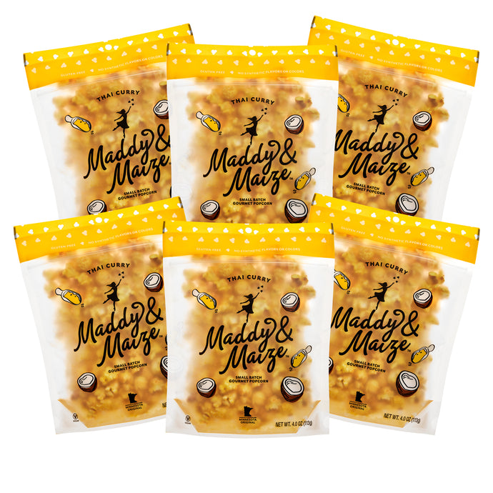 Image of 6 bags of Thai Curry Popcorn