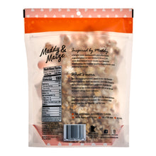 Image of the back of one 6 ounce bag of Pumpkin Spice popcorn. Logo, nutrition facts panel, and marketing copy are visible.