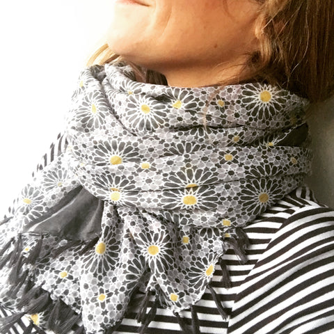 Yellow Spot Flower Cotton Scarf