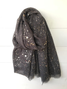 Metallic Silver Foil Speckle Long Scarf, Charcoal