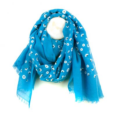 Flock Daisy Print Long Scarf, Blue