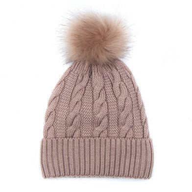 Cable Knit & Faux Fur Bobble Hat, Soft Pink