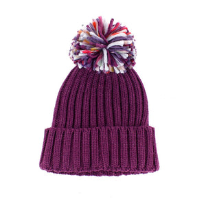 Chunky Knit & Pom Pom Bobble Hat, Plum