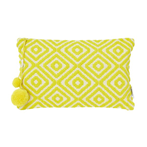Miami Large Diamond Jacquard Zip Tassel Pouch, Yellow