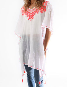 Floral Embroidered and Tassel Cotton Kaftan, White & Coral