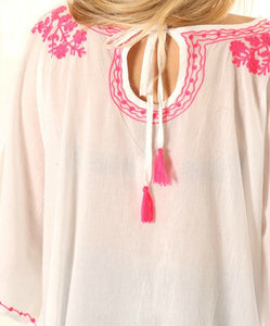 Floral Embroidered and Tassel Cotton Kaftan, White & Pink