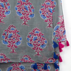 Floral Print Cotton Scarf with Tassels, Pink & Blue