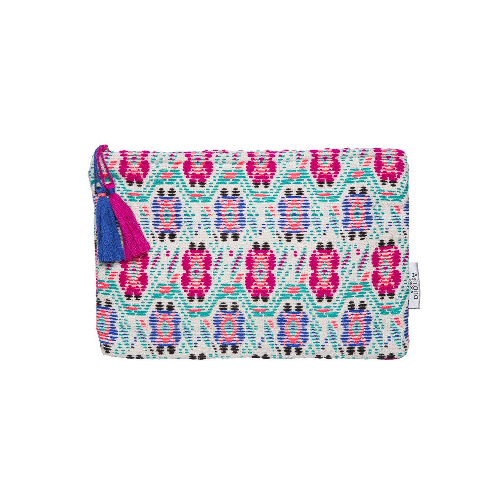 Miami Floral Jacquard Zip Tassel Pouch, Pink & Blue