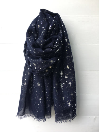 Metallic Silver Foil Starburst Long Scarf, Navy