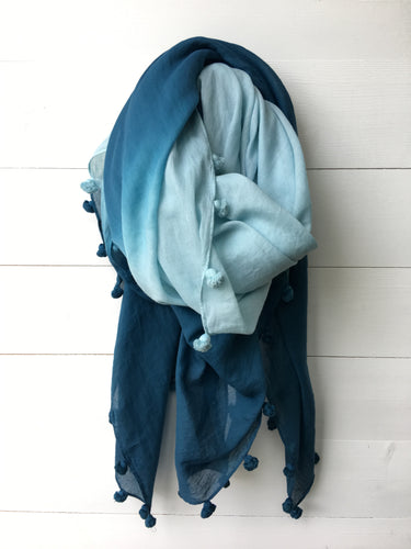 Ombre Cotton Long Scarf with Tassels, Petrol Blue
