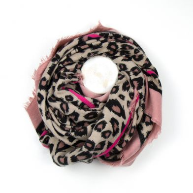 Leopard Animal Soft Brushed Square Scarf with Stripes, Natural & Pink