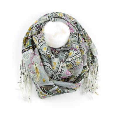 Paisley fringe Long Scarf, Grey