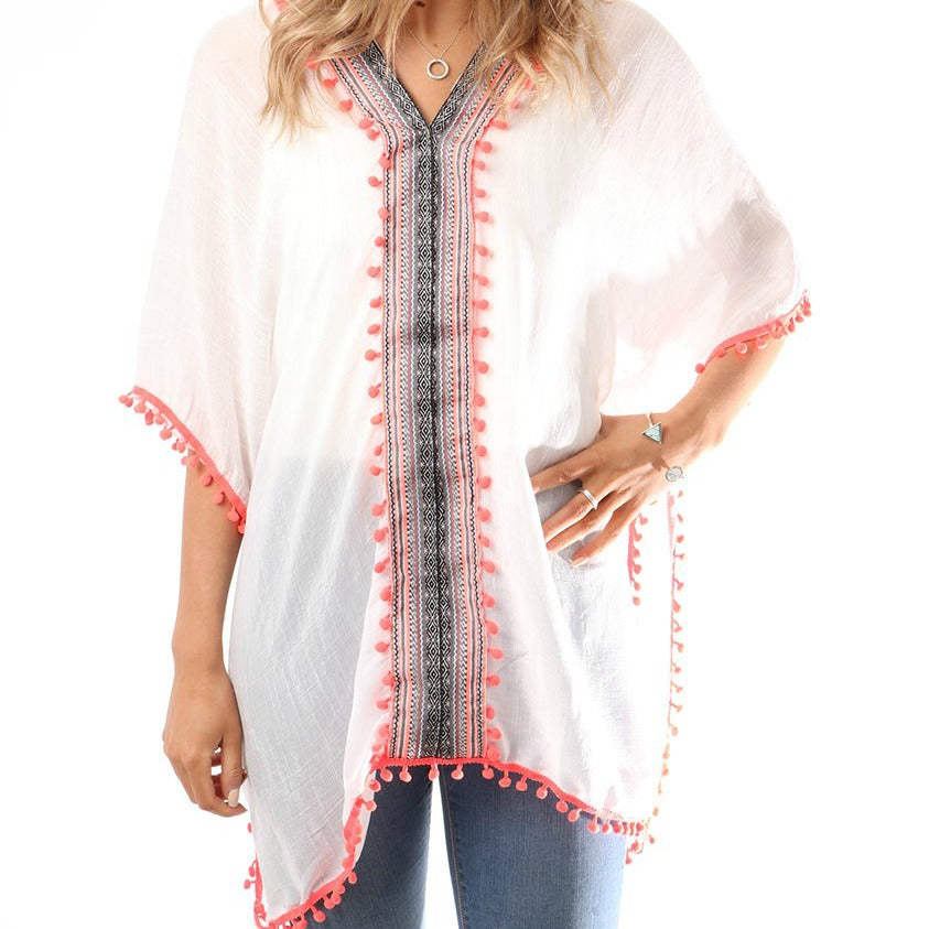 Striped front and Pom Pom Trim Kaftan, Coral
