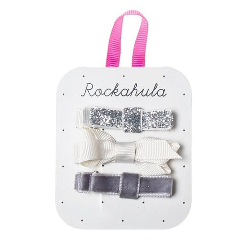 Rockahula Kids Twisted Grosgrain Bow Clips, Silver