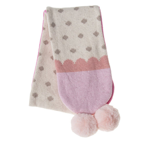 Rockahula Kids Fleece Lined Pom Pom Scarf, Pink