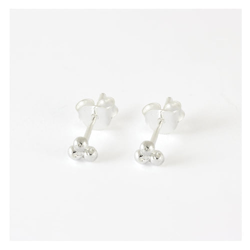Mini 3 Ball Cluster Stud Earrings, Sterling Silver