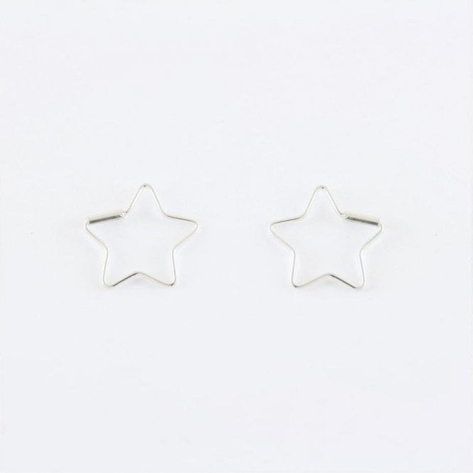 Star Hoop Earrings, Sterling Silver