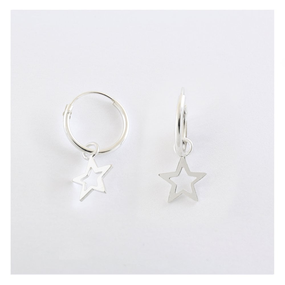 Mini Hoop & Star Drop Earrings, Sterling Silver