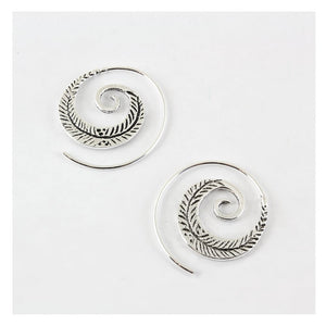 Feather Swirl Hoop Earrings, Sterling Silver